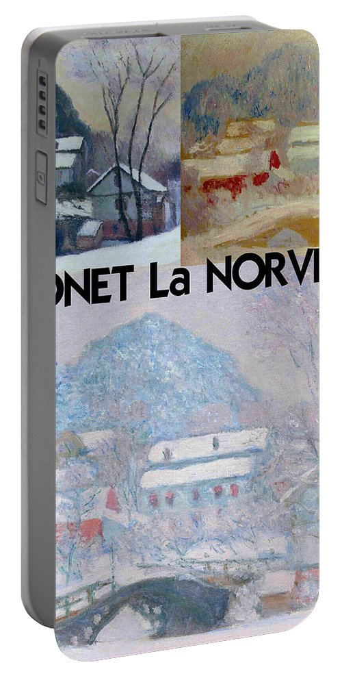 Monet Portable Battery Charger featuring the digital art Collage Of Monet's Norwegian Works by Philip Ralley