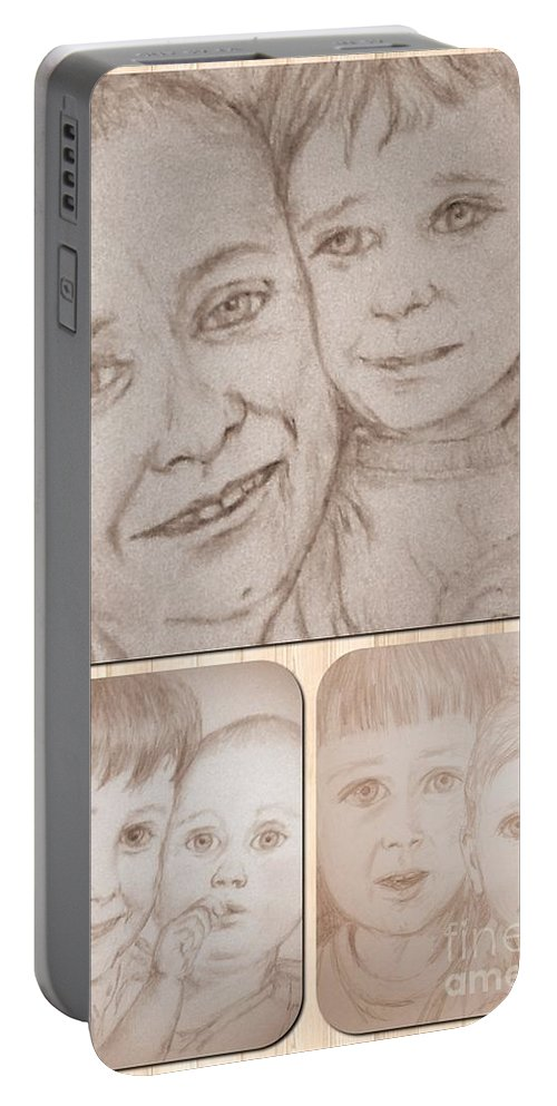 Portraits Portable Battery Charger featuring the drawing Collage Portraits by Joan-Violet Stretch