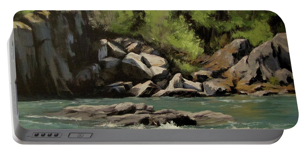 River Portable Battery Charger featuring the painting Colliding Rivers by Karen Ilari