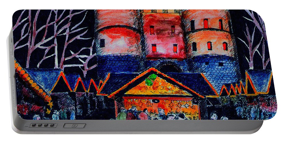 Cologne Portable Battery Charger featuring the painting cologne Xmas Market by Petra Stephens