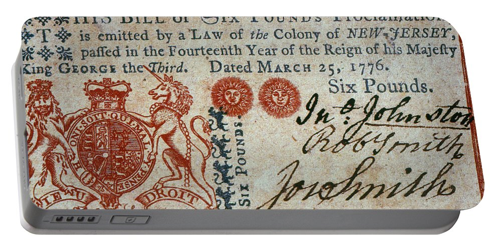 1776 Portable Battery Charger featuring the photograph Colonial Currency, 1776 by Granger