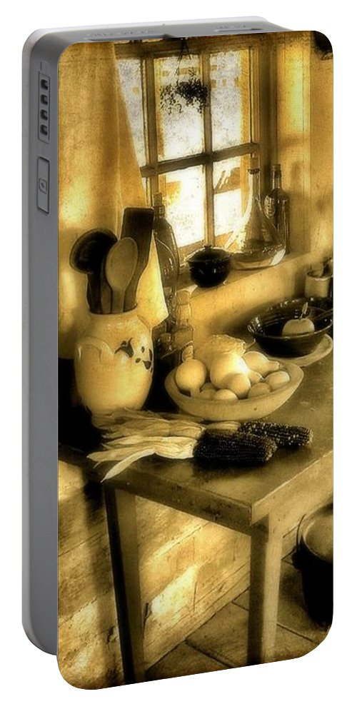 Colonial America Portable Battery Charger featuring the photograph Colonial Kitchen by Jean Goodwin Brooks