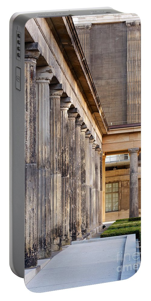 Architectural Portable Battery Charger featuring the photograph Colonnades At Neues Museum Berlin by Jannis Werner