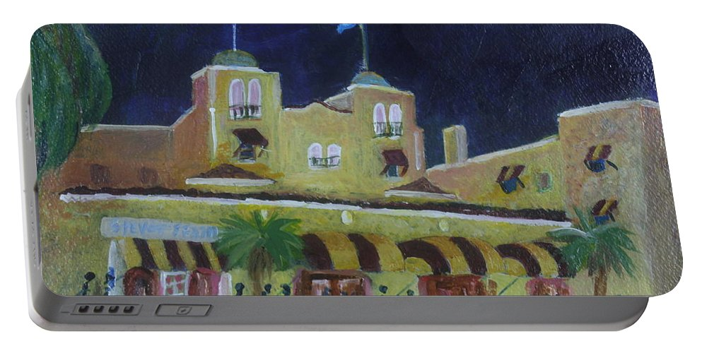 Art Portable Battery Charger featuring the painting Colony Hotel At Night. Delray Beach by Donna Walsh