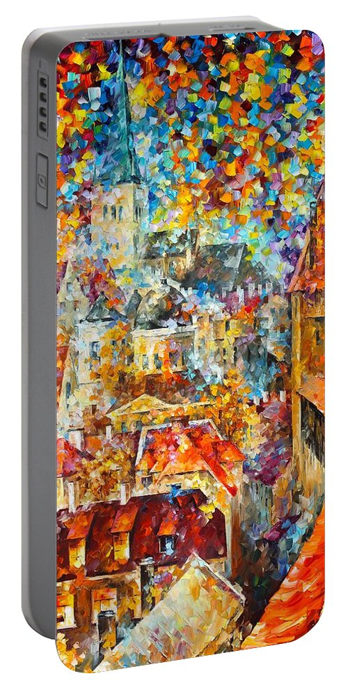 Afremov Painting Palette Knife Art Handmade Surreal Abstract Oil Landscape Original Realism Unique Special Life Color Beauty Admiring Light Reflection Piece Renown Authenticity Smooth Certificate Colorful Beauty Castle Color Portable Battery Charger featuring the painting Color Castle by Leonid Afremov