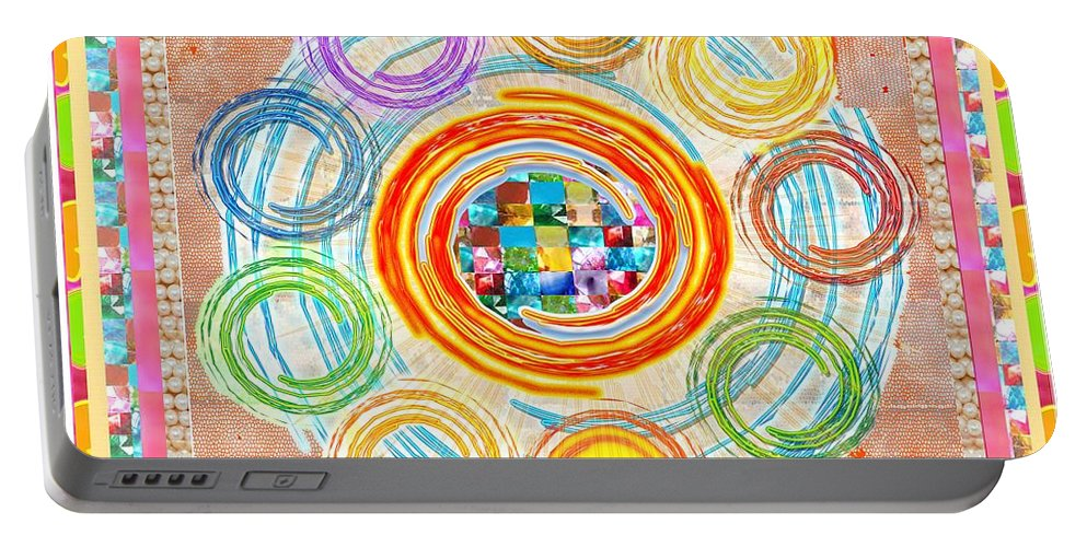 Color Portable Battery Charger featuring the painting Color Circles Crystal Stones Borders Chakra Energy Healing by Navin Joshi
