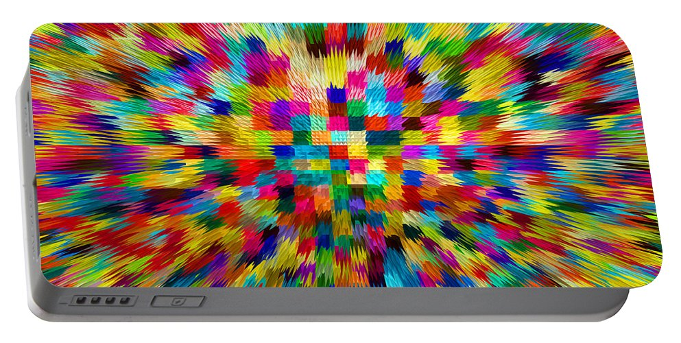 Waves Portable Battery Charger featuring the digital art Color Explosion I by Alys Caviness-Gober