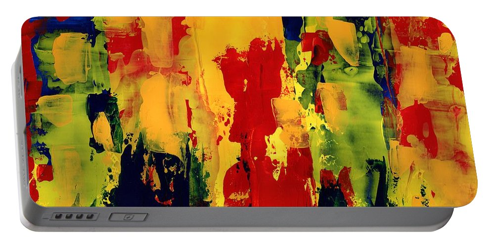 Abstract Portable Battery Charger featuring the painting Color Fantasy by Anthea Karuna