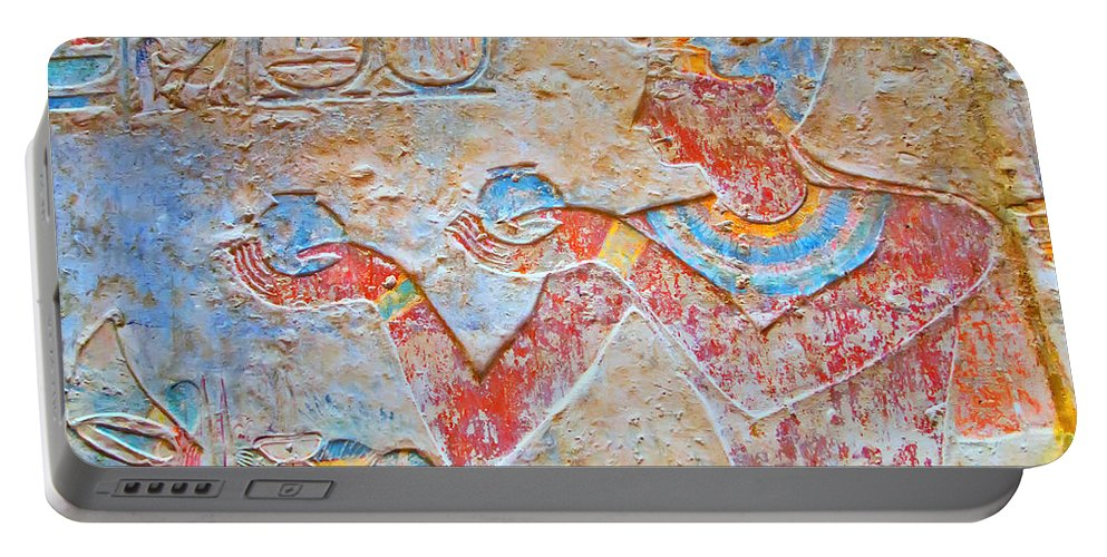 Ancient Portable Battery Charger featuring the photograph Color Hieroglyph by Jaroslav Frank