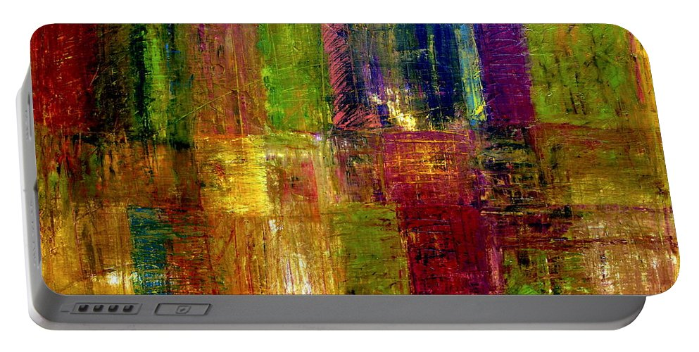 Abstract Portable Battery Charger featuring the painting Color Panel Abstract by Michelle Calkins