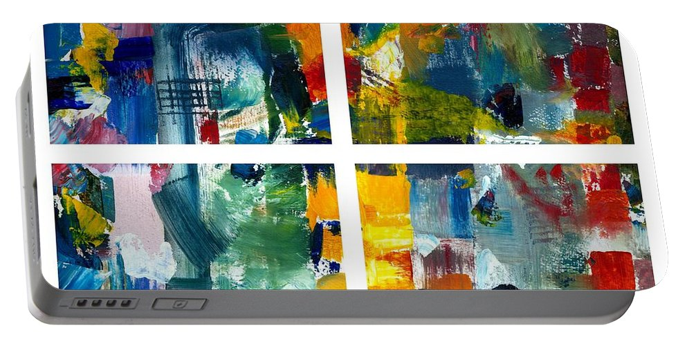 Abstract Collage Portable Battery Charger featuring the painting Color Relationships Collage by Michelle Calkins