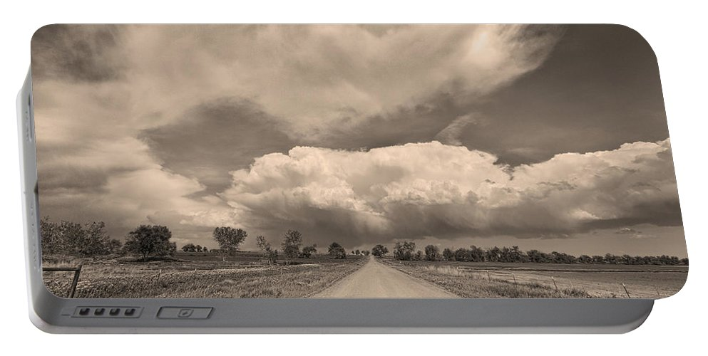 Road Portable Battery Charger featuring the photograph Colorado Country Road Sepia Stormin Skies by James BO Insogna