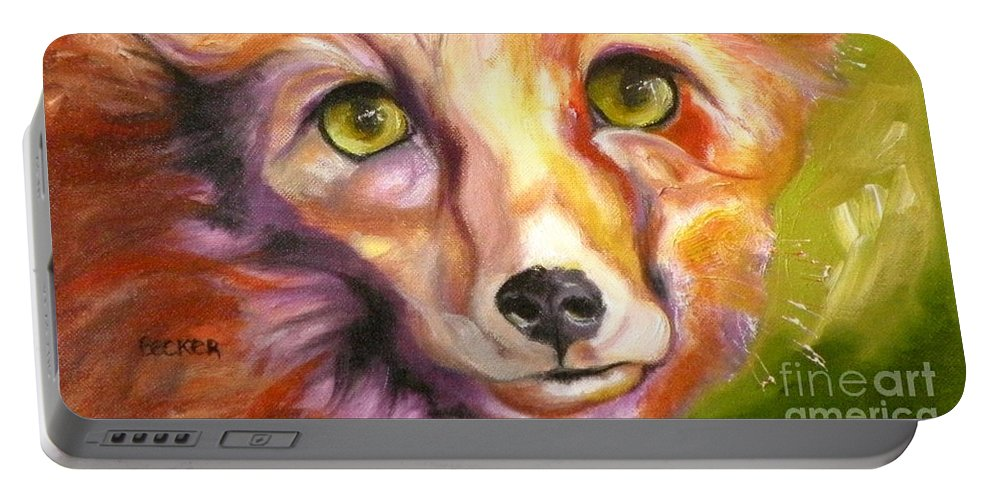 Oil Painting Portable Battery Charger featuring the painting Colorado Fox by Susan A Becker