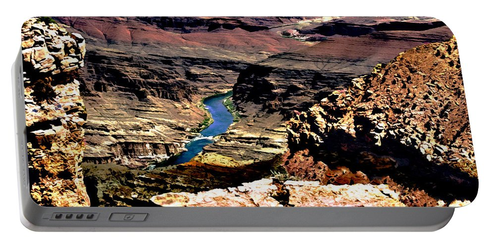 Grand Canyon Portable Battery Charger featuring the painting Colorado Rapids Grand Canyon by Bob and Nadine Johnston