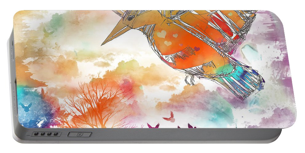 Colored Bird Portable Battery Charger featuring the digital art Colored Bird by Justyna JBJart