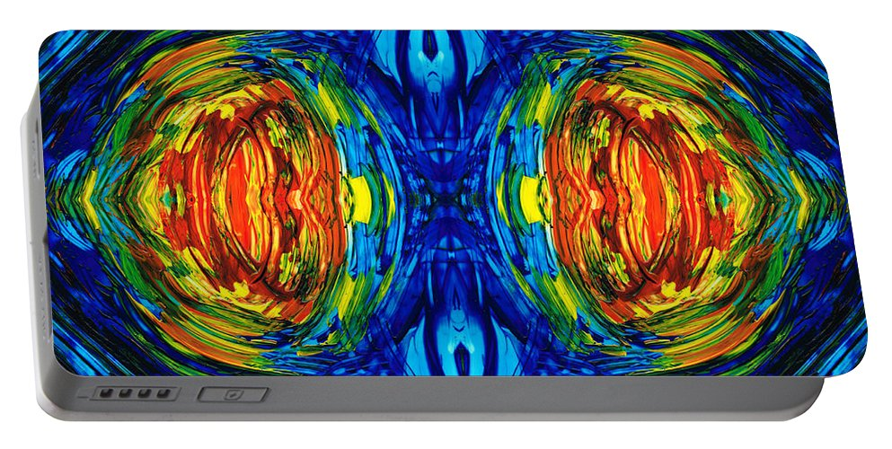 Parallel Portable Battery Charger featuring the painting Colorful Abstract Art - Parallels - By Sharon Cummings by Sharon Cummings