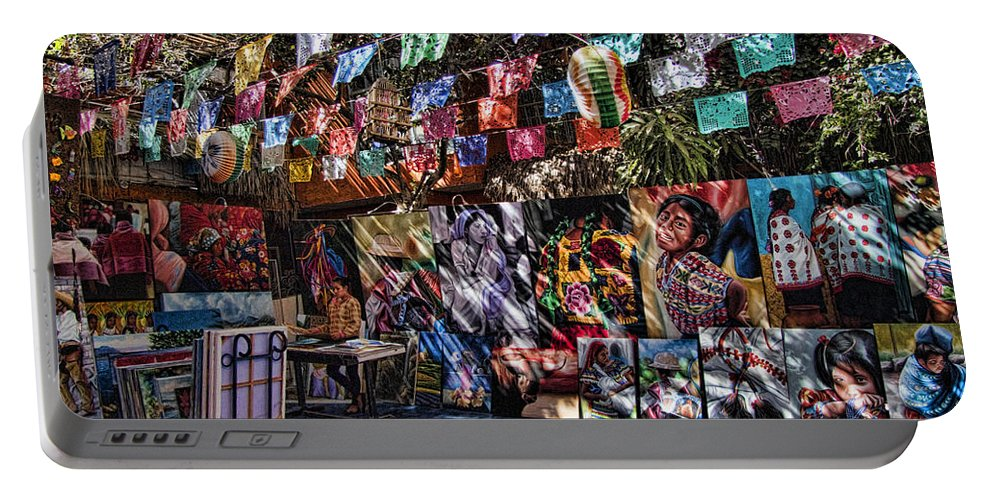 San Jose Del Cabo Portable Battery Charger featuring the photograph Colorful Art Store In Mexico by David Smith