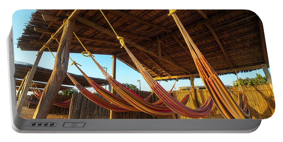 Beach Portable Battery Charger featuring the photograph Colorful Beach Hammocks by Jess Kraft