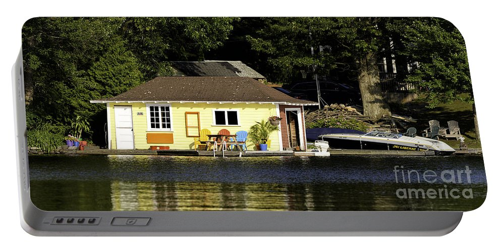 Boathouse Portable Battery Charger featuring the photograph Colorful Boathouse by Les Palenik