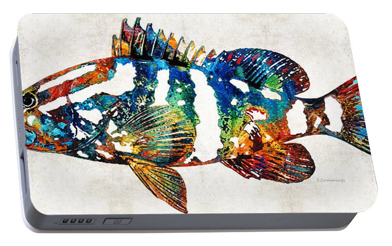 Fish Portable Battery Charger featuring the painting Colorful Grouper 2 Art Fish By Sharon Cummings by Sharon Cummings