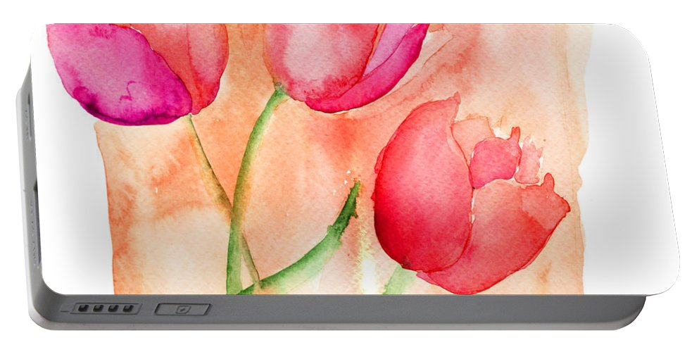 Art Portable Battery Charger featuring the painting Colorful Illustration Of Red Tulips Flowers by Regina Jershova