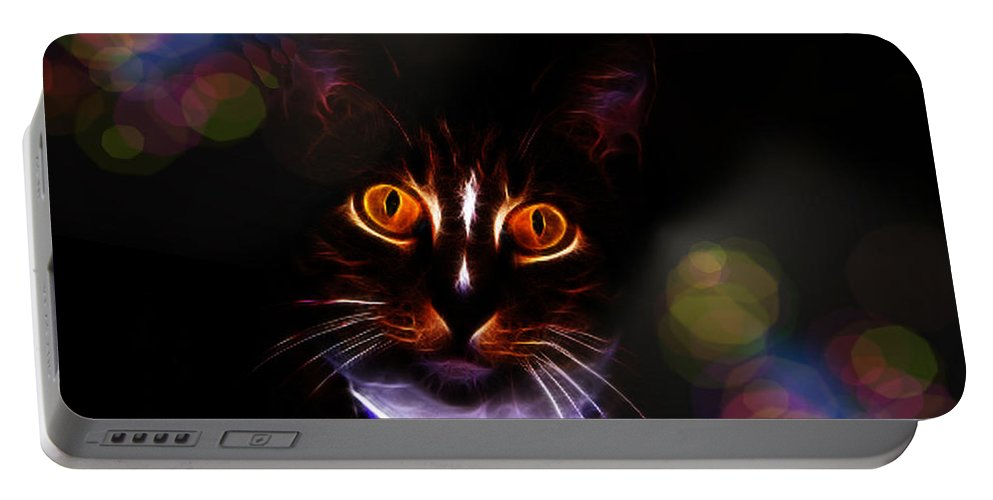 Cat Portable Battery Charger featuring the photograph Colorful Kitty by Ericamaxine Price