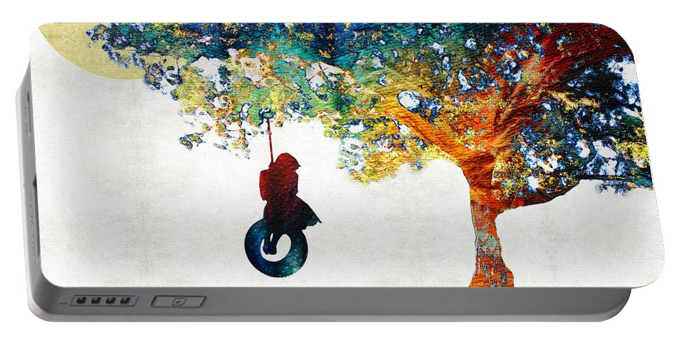 Tree Portable Battery Charger featuring the painting Colorful Landscape Art - The Dreaming Tree - By Sharon Cummings by Sharon Cummings
