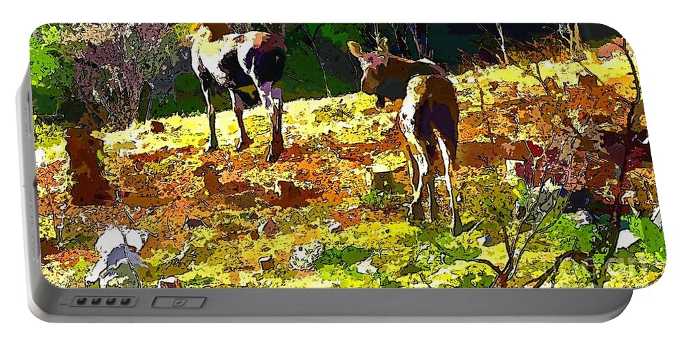 Colorful Moose Portable Battery Charger featuring the photograph Colorful Moose by Barbara Griffin