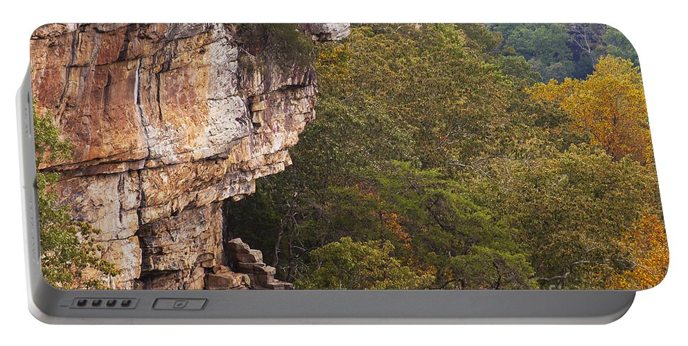 Fall Autumn Color Colors Leaves Leaf Tree Trees Foliage Rock Rocks Little River Canyon National Preserve Alabama Preserves Park Parks Landscape Landscapes Cliff Cliffs Portable Battery Charger featuring the photograph Colorful Overlook by Bob Phillips