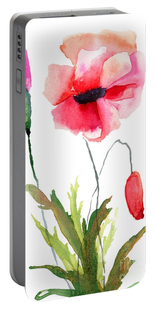Art Portable Battery Charger featuring the painting Colorful Poppy Flowers by Regina Jershova