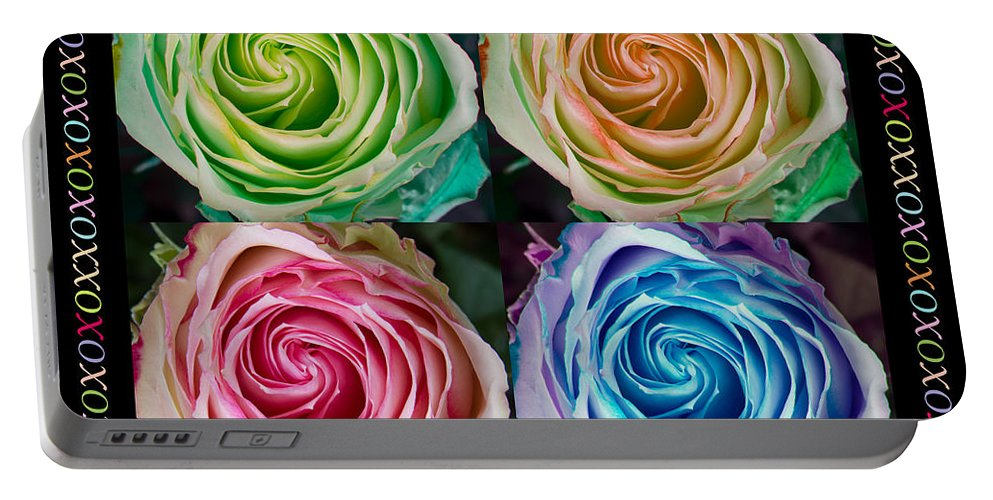 Mothers Day Portable Battery Charger featuring the photograph Colorful Rose Spirals Happy Mothers Day Hugs And Kissed by James BO Insogna