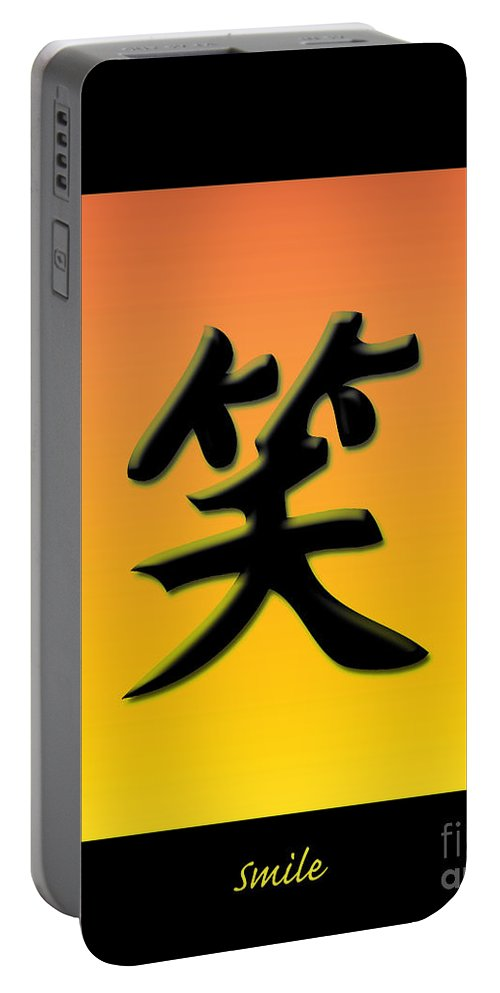 Symbols Portable Battery Charger featuring the digital art Colorful Smile With Frame by Lj Lambert