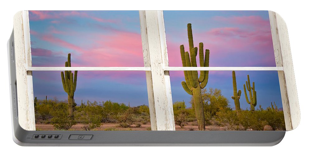 'window Frame Art' Portable Battery Charger featuring the photograph Colorful Southwest Desert Window Art View by James BO Insogna