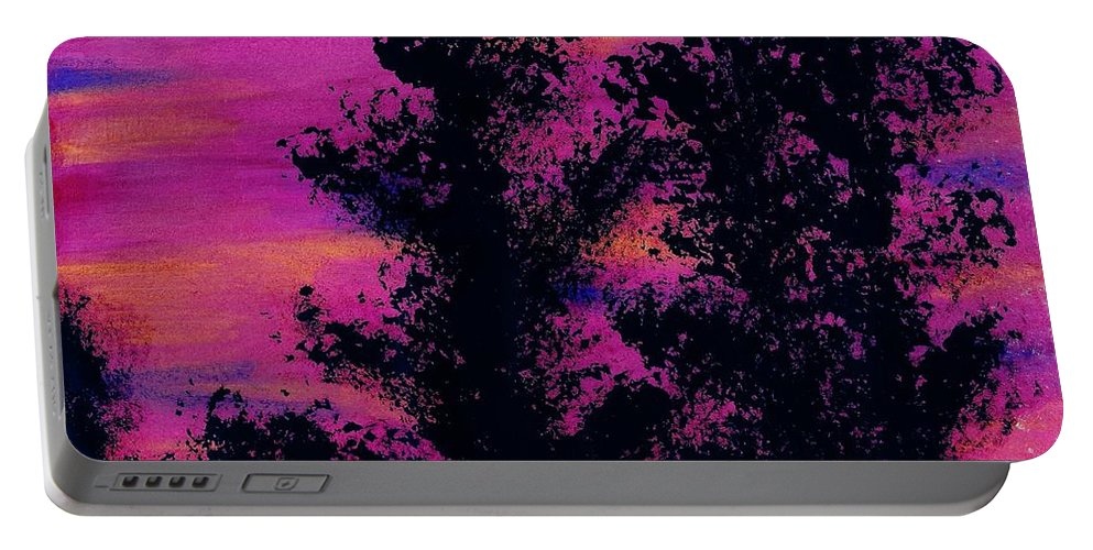 Sunset Portable Battery Charger featuring the drawing Colorful - Sunset by D Hackett