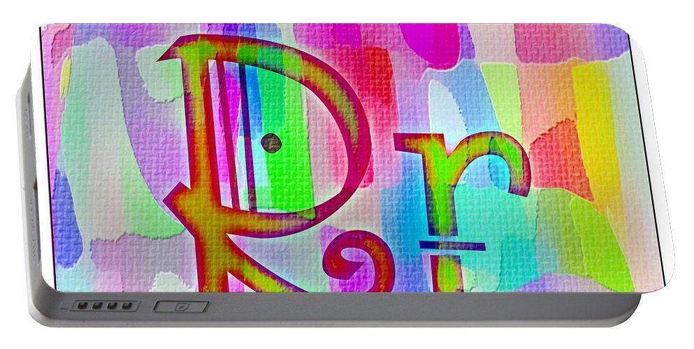 Colorful Texturized Alphabet Rr Portable Battery Charger featuring the digital art Colorful Texturized Alphabet Rr by Barbara Griffin