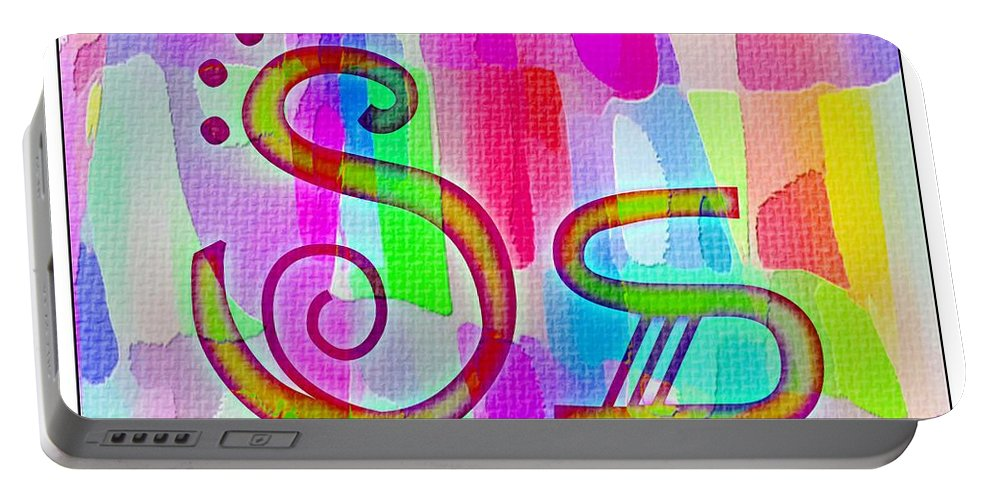 Colorful Texturized Alphabet Ss Portable Battery Charger featuring the digital art Colorful Texturized Alphabet Ss by Barbara Griffin
