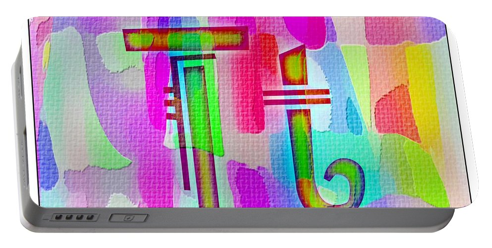 Colorful Texturized Alphabet Tt Portable Battery Charger featuring the digital art Colorful Texturized Alphabet Tt by Barbara Griffin