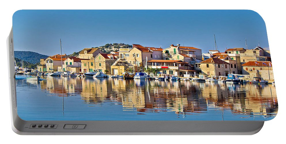 Croatia Portable Battery Charger featuring the photograph Colorful Town Of Tribunj Waterfront by Brch Photography
