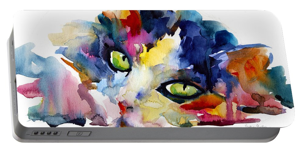 Tubby Cat Portable Battery Charger featuring the painting Colorful Tubby Cat Painting by Svetlana Novikova