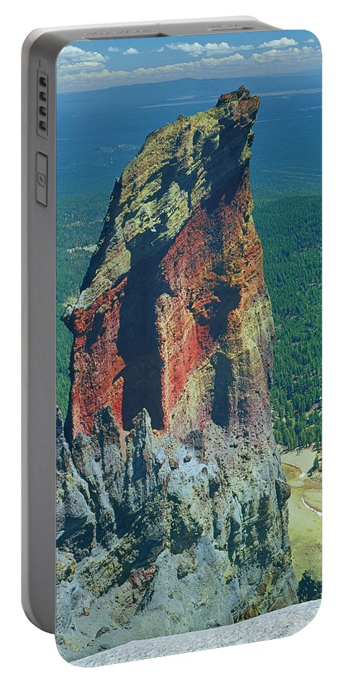 Volcanic Plug Portable Battery Charger featuring the photograph 105830-colorful Volcanic Plug by Ed Cooper Photography