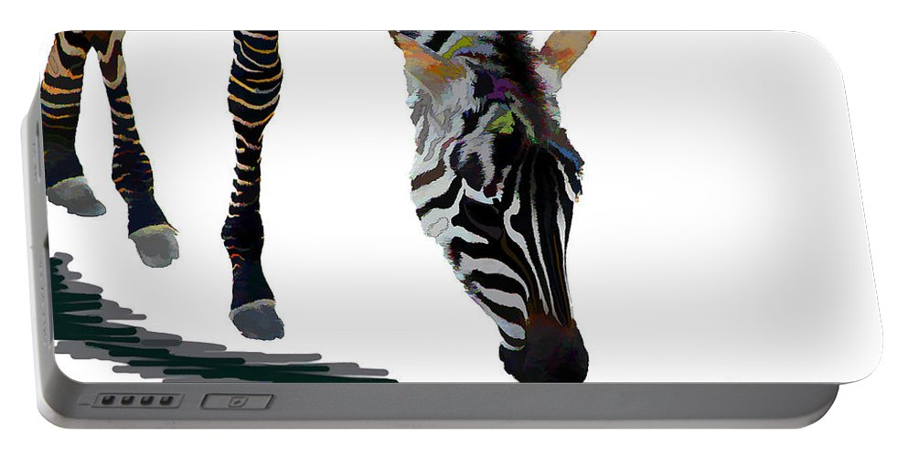 Animal Portable Battery Charger featuring the digital art Colorful Zebra 2 by Teresa Zieba