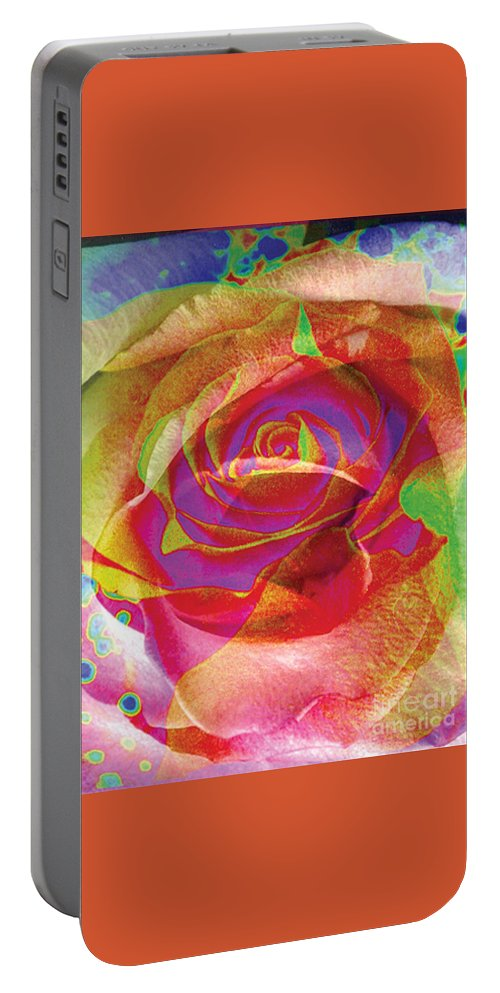 Rose Flower Portable Battery Charger featuring the digital art Colorfull Rose by Yael VanGruber