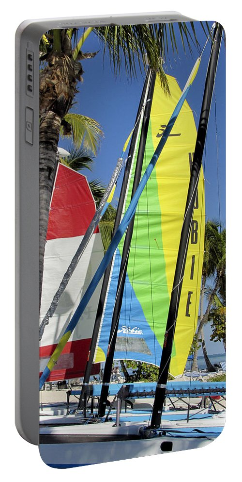 Beach Portable Battery Charger featuring the photograph Key West Sail Colors by Bob Slitzan
