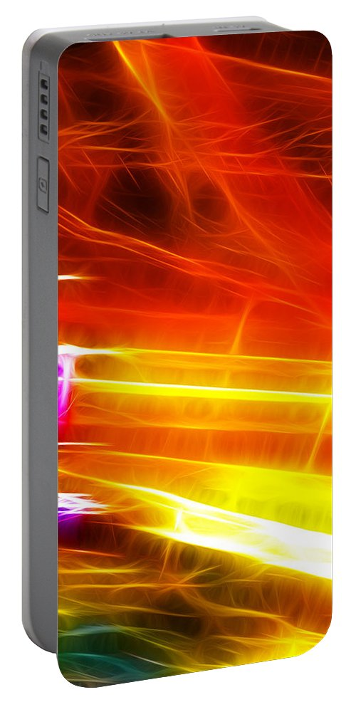 Abstract Portable Battery Charger featuring the digital art Colors Explosion by Sotiris Filippou