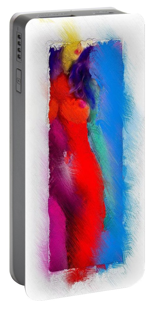 Color Colorful Erotic Portrait Expressionism Impressionism Female Woman Girl Curves Boobs Tits Nude Sexy Portrait Portable Battery Charger featuring the painting Colors Of Erotic 2 by Steve K