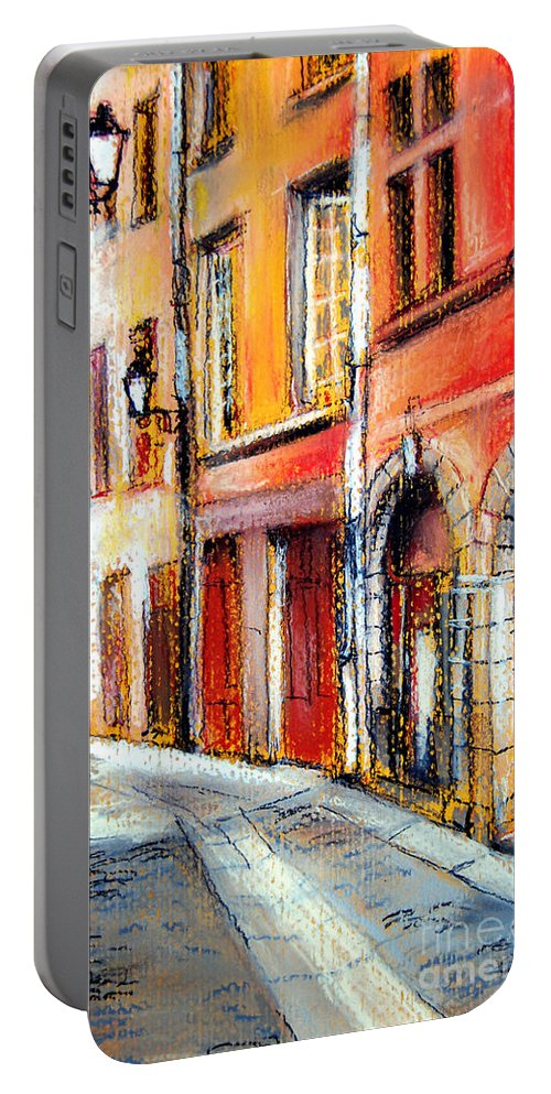 Colors Of Lyon Portable Battery Charger featuring the pastel Colors Of Lyon 3 by Mona Edulesco
