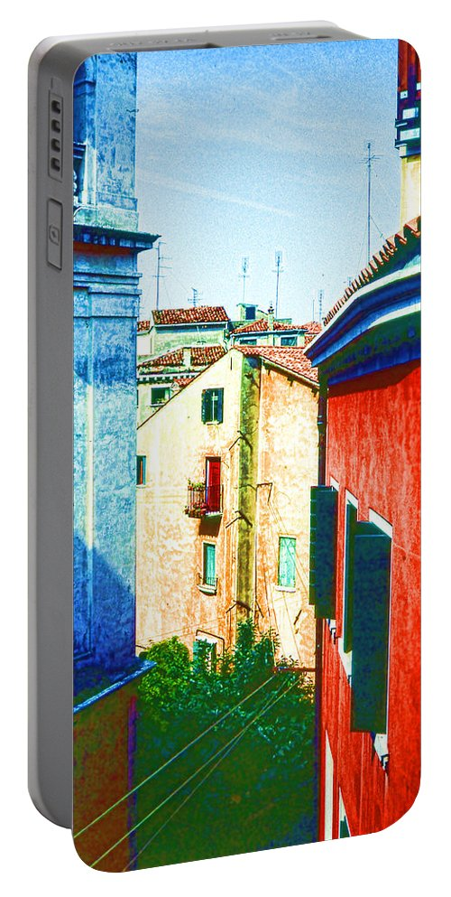 Village Portable Battery Charger featuring the digital art Colors Of My Village by Cathy Anderson