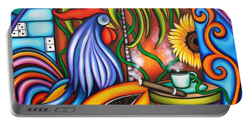 Cuba Portable Battery Charger featuring the painting Colors Of My World by Annie Maxwell
