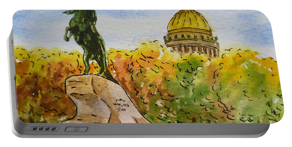 Russia Portable Battery Charger featuring the painting Colors Of Russia Monuments Of Saint Petersburg by Irina Sztukowski
