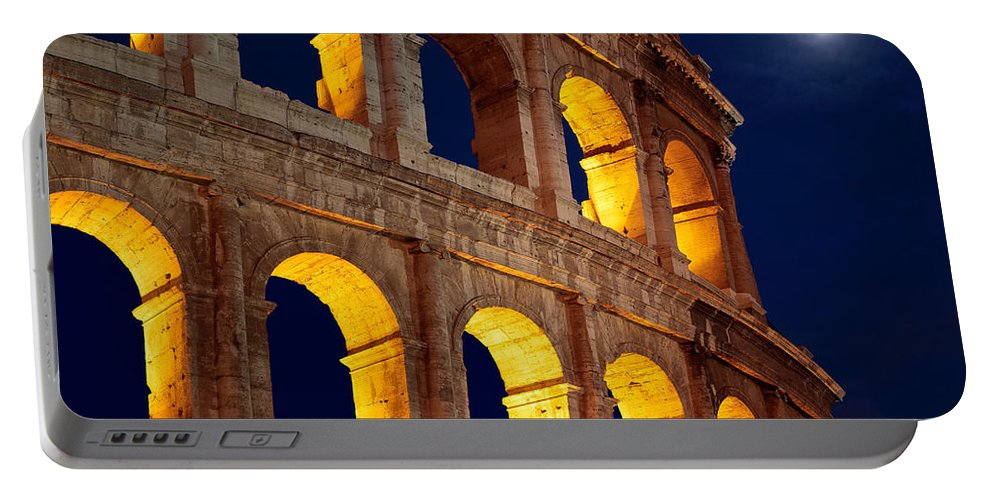 Colosseum Portable Battery Charger featuring the photograph Colosseum And Moon by Inge Johnsson